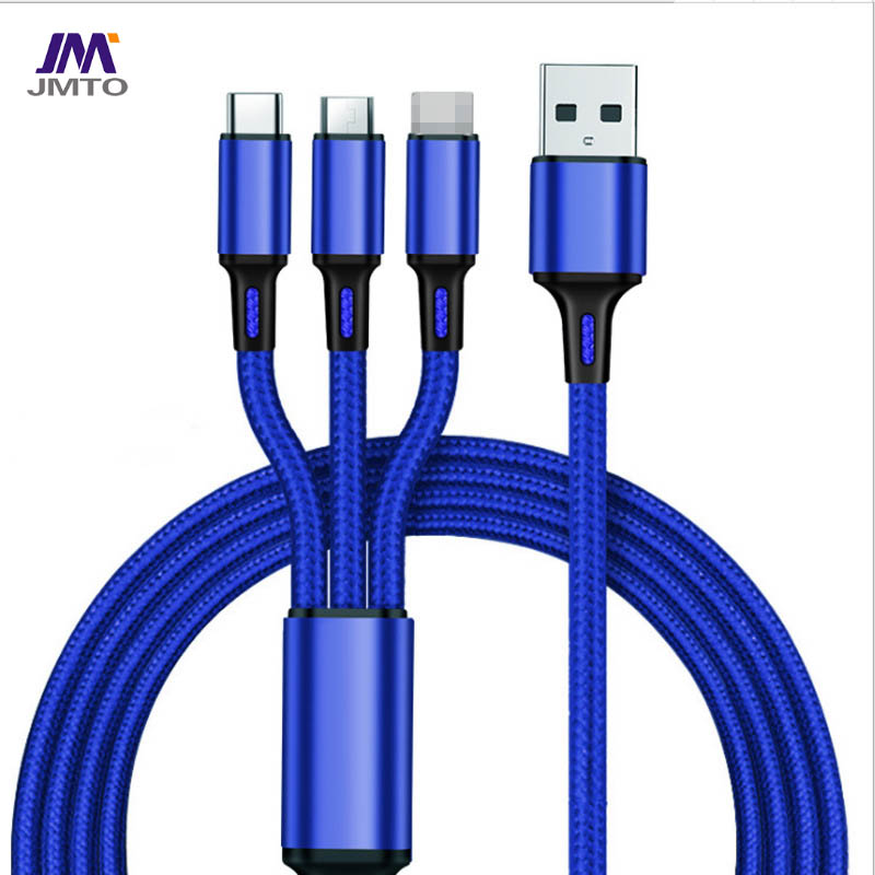 USB 3in 1 Nylon Braid Cable TYPE-C Micro iPhone Cable